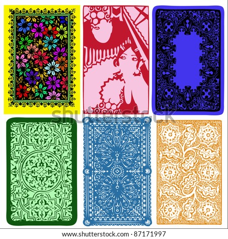 vintage playing card back side - stock vector