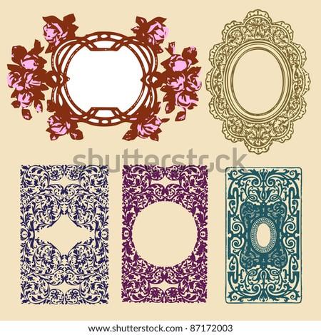 vintage playing card back side and vintage frames - stock vector