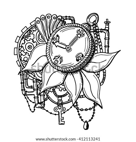 Vintage pocket watch with petails, chains, pipes, jewelry, keys on grunge background. For tattoo, logo or print. Hand drawn owl for adult anti stress coloring page . Vector monochrome sketch. - stock vector
