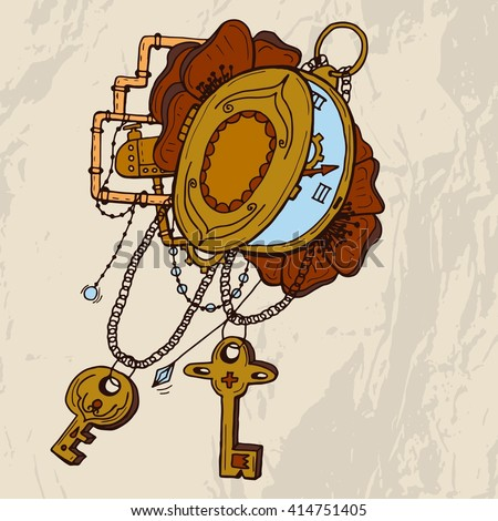 Vintage pocket watch with petails, chains, pipes, jewelry, keys on grunge background. For tattoo, logo or print. Hand drawn watch . - stock vector