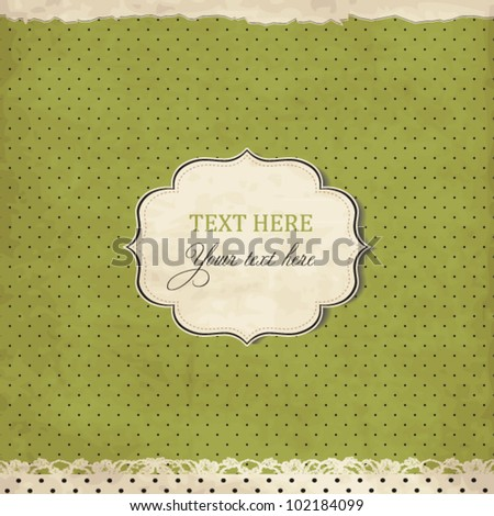 Vintage polka dot card with lace, scrap template of worn distressed design