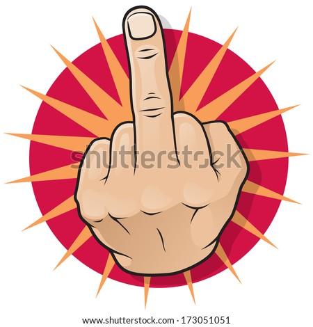 Vintage Pop Art Middle Finger Hand Sign. Great illustration of Pop Art comic book style Middle Finger Up hand sign. - stock vector
