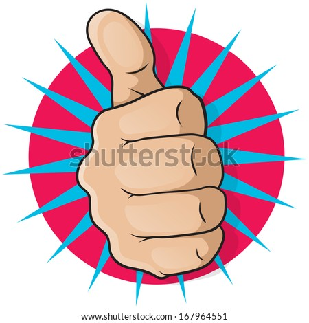 Vintage Pop Art Thumbs Up. Great illustration of pop Art comic book style Thumbs Up gesturing positive satisfaction. - stock vector