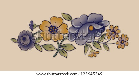 Vintage Porcelain Floral Design - stock vector