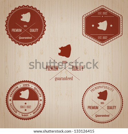 Vintage Pork Badge set | Editable EPS vector illustration - stock vector