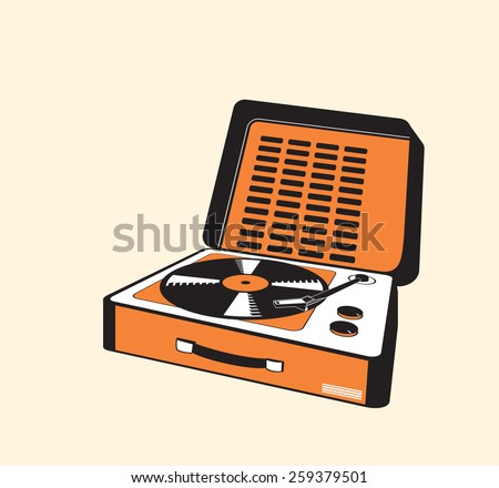 vintage portable turntable - stock vector