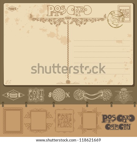 vintage post card background sample with different element - stock vector