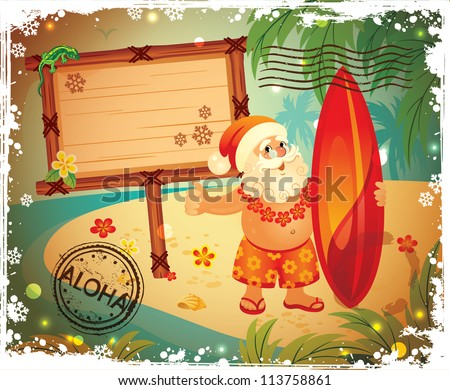Vintage Post card with Santa - stock vector
