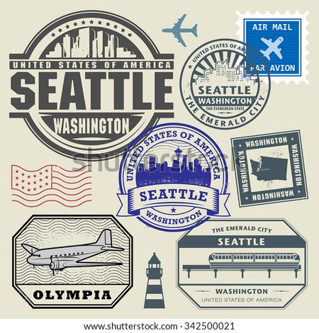 Vintage post stamps set with name of Washington, United States, vector illustration - stock vector
