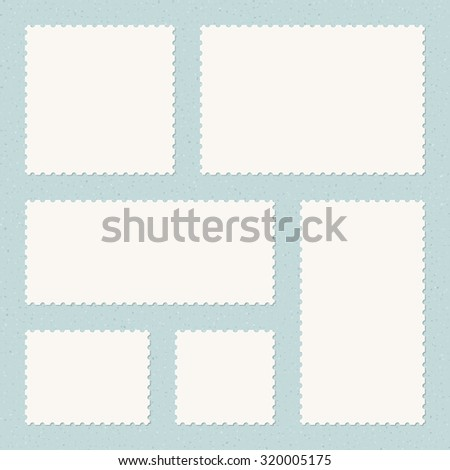 Vintage Postage Stamps Templates on Textured Background - stock vector