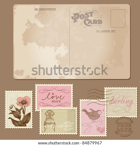 Vintage Postcard and Postage Stamps - for wedding design, invitation, congratulation, scrapbook - stock vector