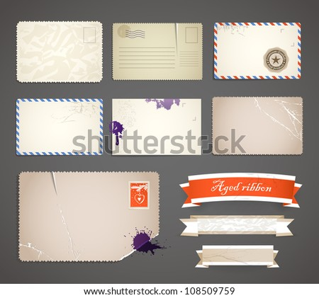 Vintage postcard and ribbons templates collection - stock vector