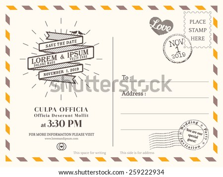 Vintage Postcard Background Vector Template Wedding Stock Vector ...
