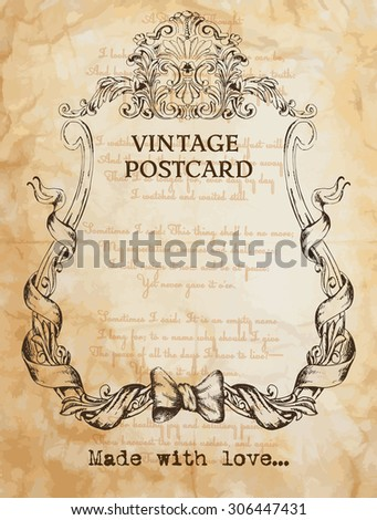 vintage postcard background with classic frame - stock vector