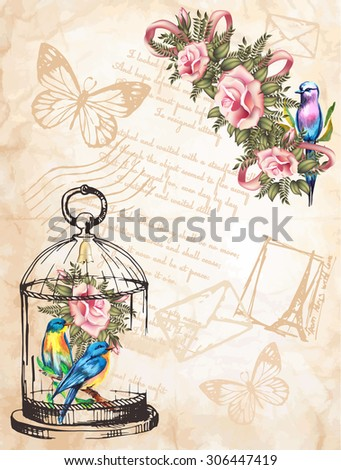 vintage postcard background with roses and a bird - stock vector