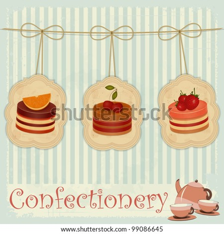 vintage postcard, cover menu confectionery - Strawberry, chocolate and cherry Cake  - vector illustration - stock vector