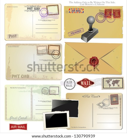Vintage postcard designs and postage elements - stock vector