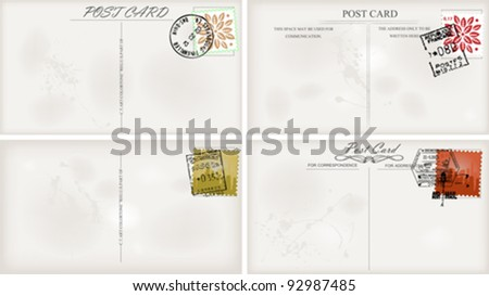 vintage postcard designs and postage stamps - stock vector