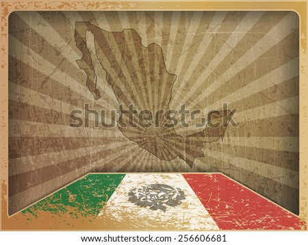 Vintage postcard: Flag and map of Mexico - stock vector