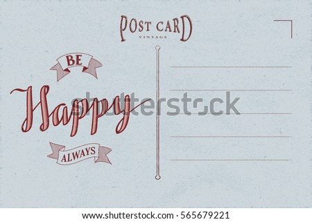 Vintage Postcard Inner Side Blank Template Stock Vector