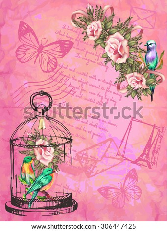 vintage postcard pink background with roses and a bird - stock vector