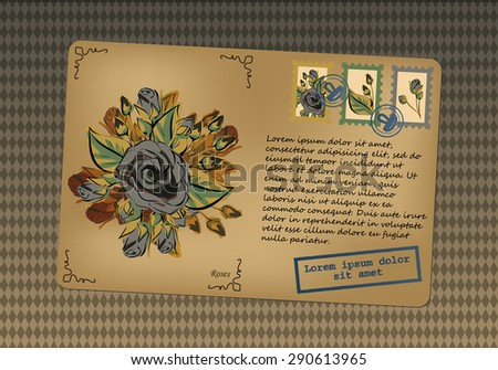 Vintage postcard. Stamps with flowers. Printing with place for your text. Retro background in rhombus. Vector graphics. - stock vector