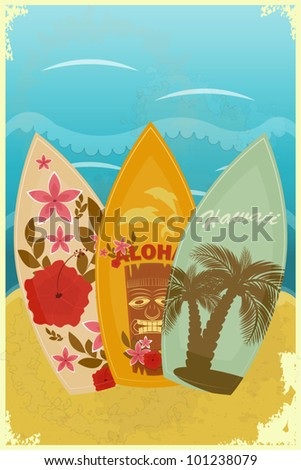 vintage postcard - Surfboards on the beach - vector illustration - stock vector