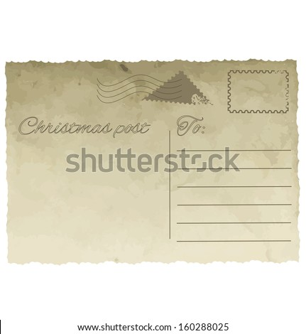 Vintage postcard template with stamps. Christmas greeting. - stock vector