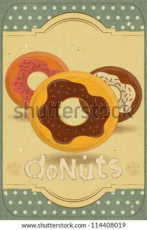 Vintage postcard, vertical cover menu - donuts on vintage background - vector illustration - stock vector