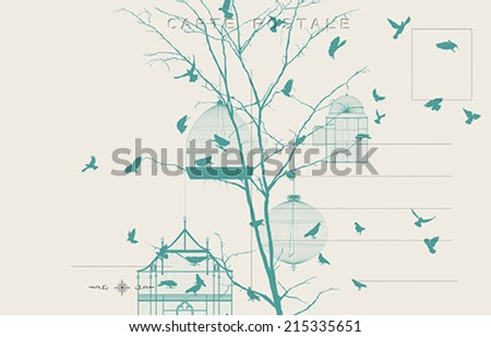 Vintage postcard with birds and bird cages - stock vector