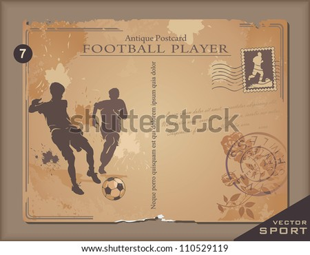 Vintage postcard with Football player hand-drawing. Retro decor illustration. - stock vector