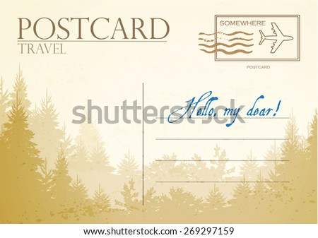 Vintage postcard with forest. Vector illustration - stock vector