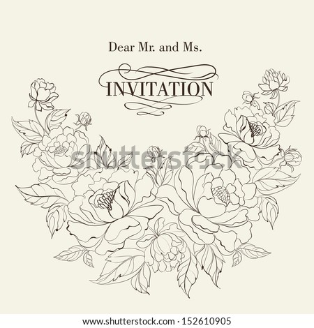 Vintage postcard with peonies. Vector illustration. - stock vector