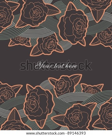 Vintage postcard with roses - stock vector