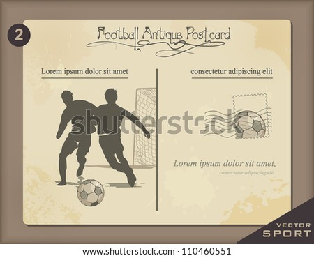 Vintage postcard with Soccer football player. Antique Retro decor illustration. - stock vector