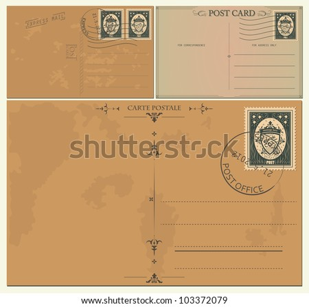 Vintage postcards - stock vector
