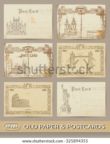vintage postcards. set  - stock vector