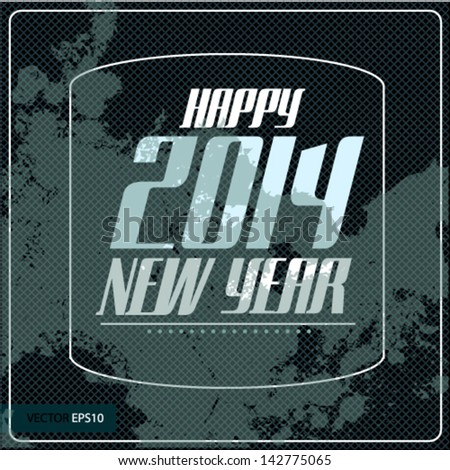 Vintage Poster Art - Happy 2014 new year - stock vector