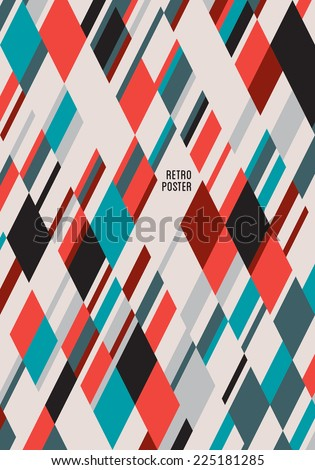 Vintage poster background template. Can be used for art exhibition, music festival, fashion, cinema, workshops or any other event. Instant color change. Easy deconstruction. Vector abstract pattern. - stock vector