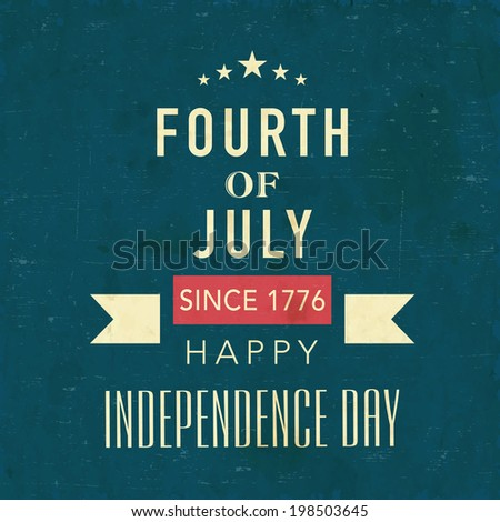 Vintage poster, banner or flyer design with golden text Fourth of July, Happy Independence Day on sea green background.  - stock vector