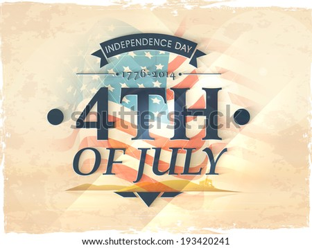 Vintage poster, banner or flyer design with stylish text 4th of July on American flag background for Independence Day celebration. - stock vector