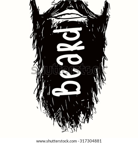Vintage poster Beard- unique hand drawn lettering. T-shirt, bag design, poster, greeting card illustration. Vector typography. - stock vector