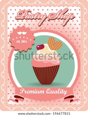 Vintage poster card for pastry shop, vector design - stock vector