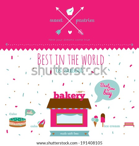 Vintage poster for confectionery with sweets and ice cream. Bright background with fireworks and design elements on the subject of baking. Vector illustration with cute and white background. - stock vector