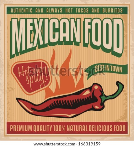 Vintage poster for Mexican food. Retro vector design template for Mexican restaurant on old paper texture. - stock vector