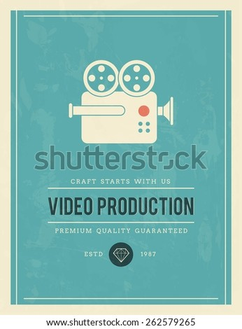 vintage poster for video production, vector illustration - stock vector