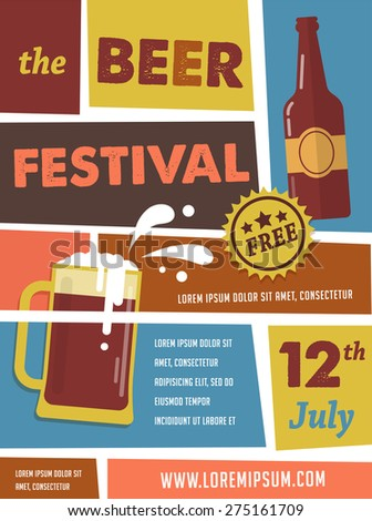Vintage poster of beer festival - stock vector