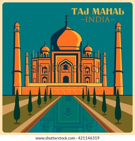 Vintage poster of Taj Mahal in Uttar Pradesh, famous monument of India . Vector illustration - stock vector