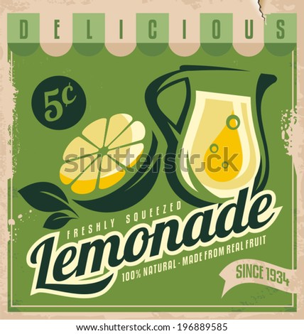 Vintage poster template for lemonade. Retro banner design with food and drink concept. Promotional vintage printing material for healthy food product. - stock vector
