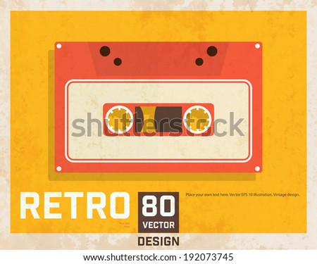 Vintage Poster with Audio Cassette, Retro Background Texture. - stock vector